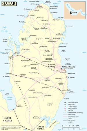 An enlargeable map of the State of Qatar