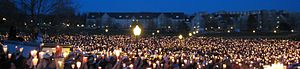 Students at Virginia Tech hold a candlelight v...