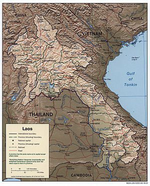 An enlargeable relief map of Laos