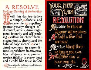 English: Two New Year's Resolutions postcards