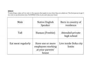 ENGL 103 Privilege Bingo